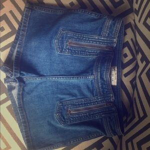 Free People jean shorts with zipper accents